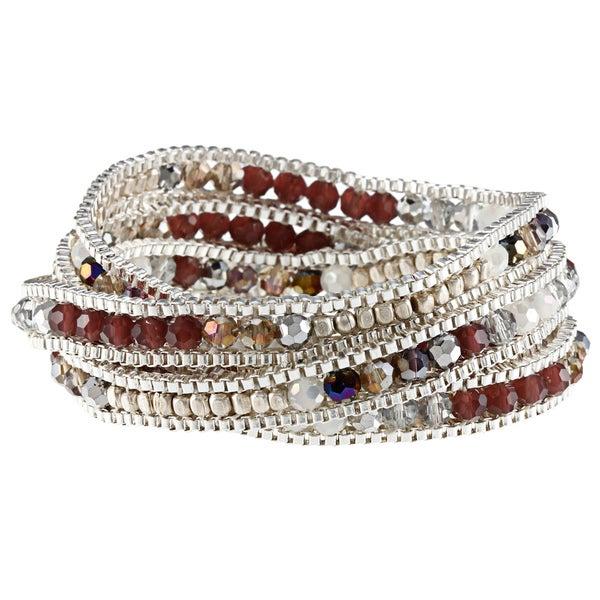 Silvertone Chain Crystal Pink Pastels 5-wrap Bracelet