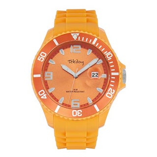 Tekday Men's Orange Plastic Sport Watch