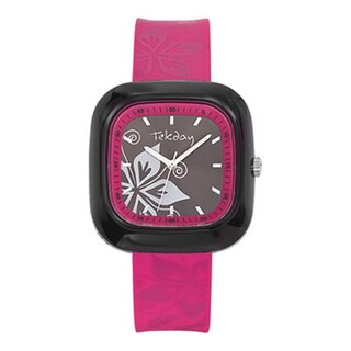 Tekday Children's Pink Plastic Flower Watch