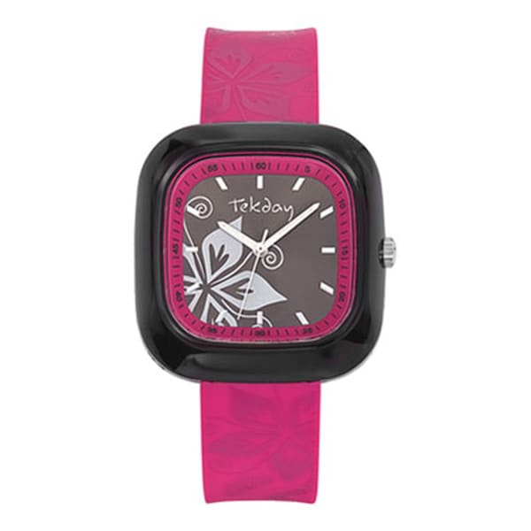 Tekday Children's Pink Plastic Flower Watch