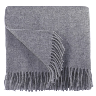 Bocasa Silver Woven Wool Blanket Throw