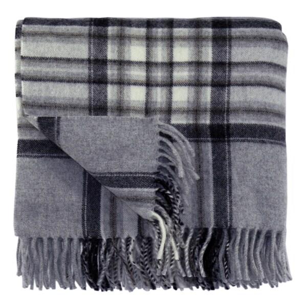 Bocasa Karo Silver Woven Wool Blanket