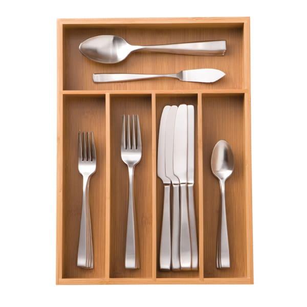 Seville Classics Medium Bamboo Cutlery Tray