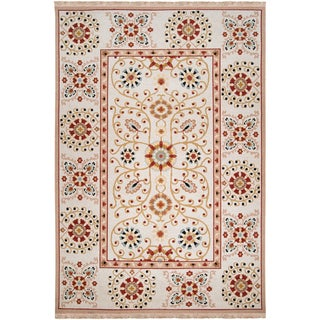 Hand-knotted Ivory Paisley Floral Boorowa New Zealand Wool Rug (2' x 3')