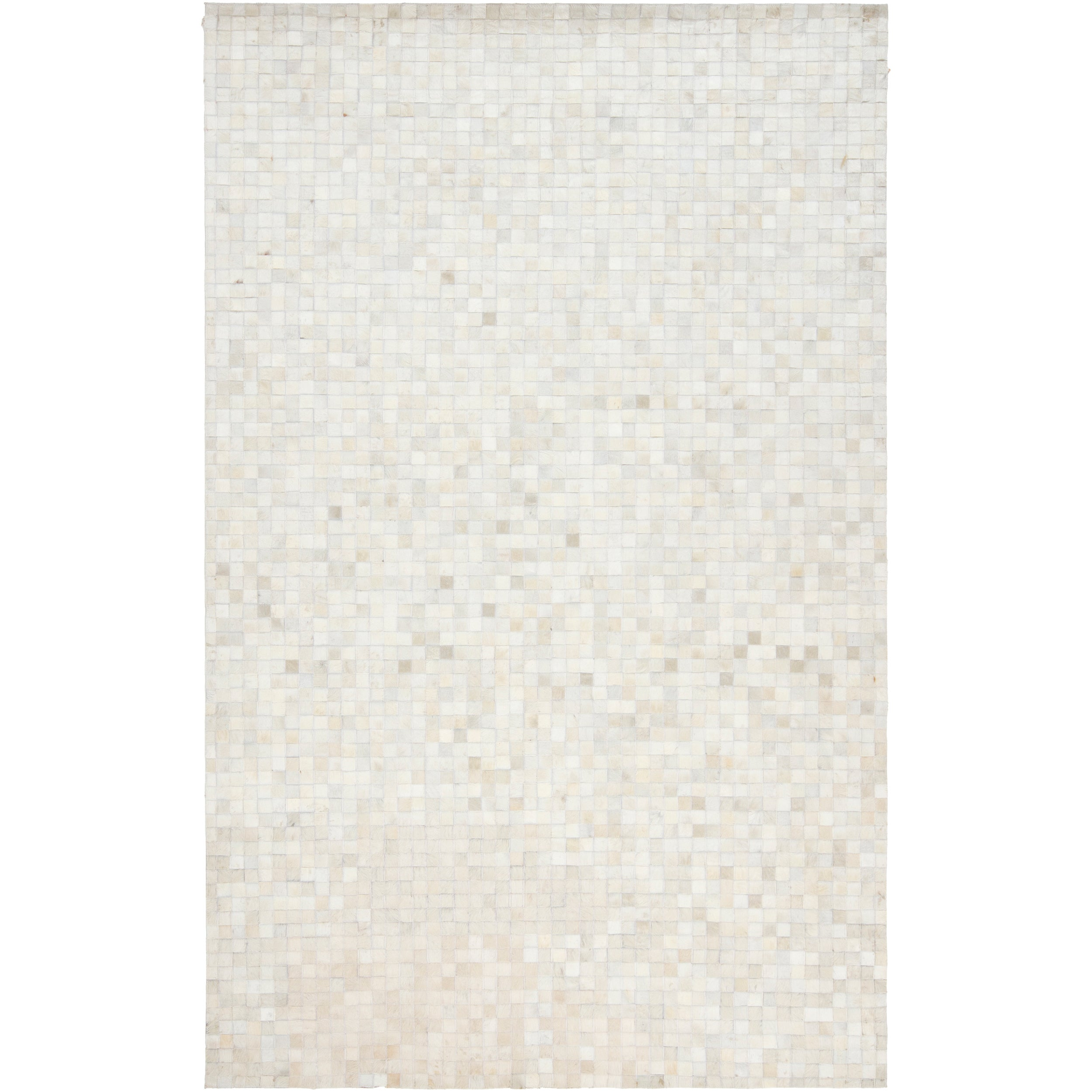 Hand-crafted White Leather Animal Hide Geometric Squares Avenal Rug (2' x 3')
