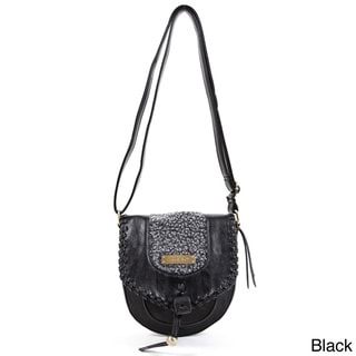 Nicole Lee 'Ava' Faux Leather Woolen Trim Shoulder Bag