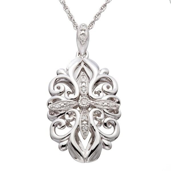 Sterling Silver 1/6ct TDW Diamond Filigree Vintage-inspired Necklace (H-I, I2-I3)