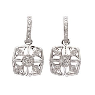 Silver 1/5ct TDW Diamond Vintage-inspired Square Earrings (H-I, I2-I3)
