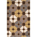 Hand-woven Livingston Brown Wool Rug (2' x 3')