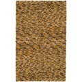 Hand-woven Lee Gold New Zealand Wool Plush Shag Rug (2' x 3')