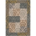 Elm Brown Damask Patchwork Rug (6'7 x 9'6)