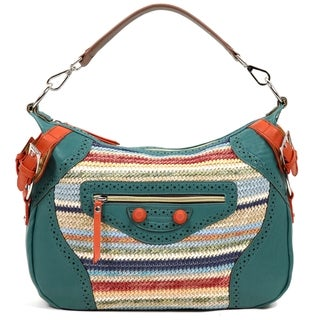 Nicole Lee 'Naysa' Rainbow Raffia Faux Leather Hobo Bag