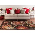 Meticulously Woven Contemporary Brown Floral Elgin Area Rug (6'7 x 9'6)