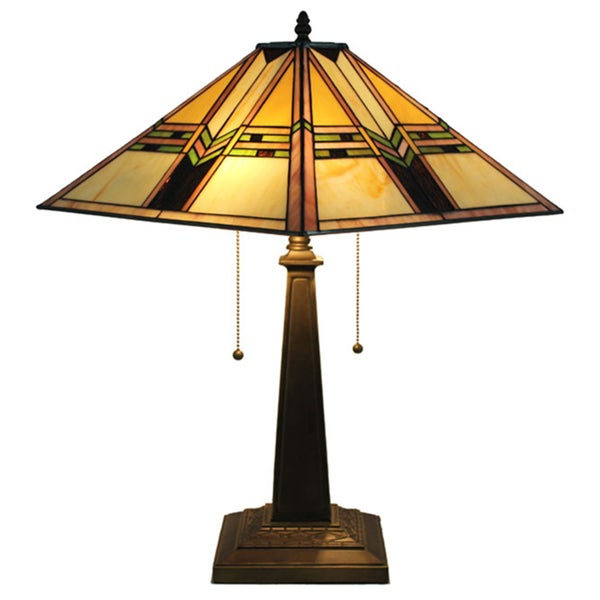 mission stained glass tiffany style table lamp 14773131 overstock. Black Bedroom Furniture Sets. Home Design Ideas