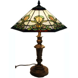 Roma Handcrafted Stained Glass Tiffany Style Table Lamp