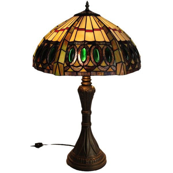 Jeweled Handcrafted Stained Glass Tiffany Style Table Lamp