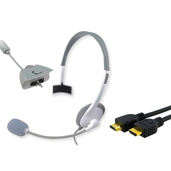 INSTEN Headset with Microphone/ HDMI Cable for Microsoft xBox 360