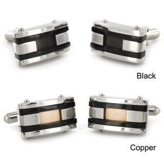 Crucible Stainless Steel Colored Inlay and Black Racing Stripe Cuff Links