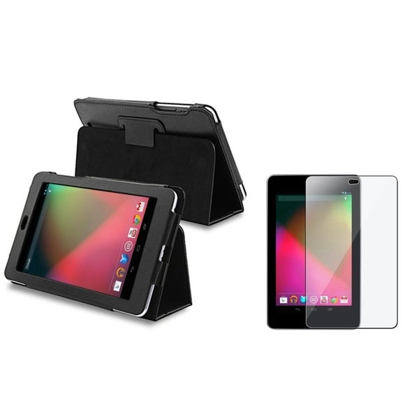 INSTEN Leather Phone Case Cover with Stand/ Screen Protector for Google Nexus 7