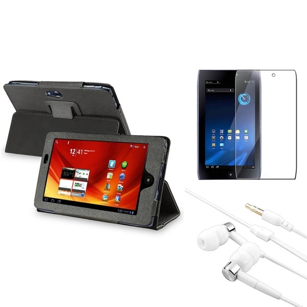 INSTEN Leather Phone Case Cover/ LCD Protector/ Headset for Acer Iconia A100 Tab