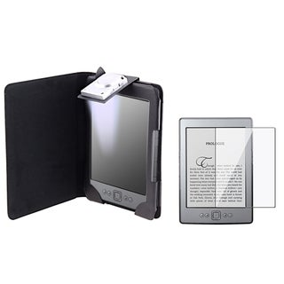 BasAcc Black Leather Case/ Screen Protector for Amazon Kindle 4