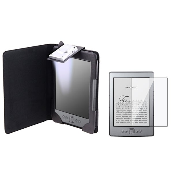 INSTEN Black Leather Phone Case Cover/ Screen Protector for Amazon Kindle 4