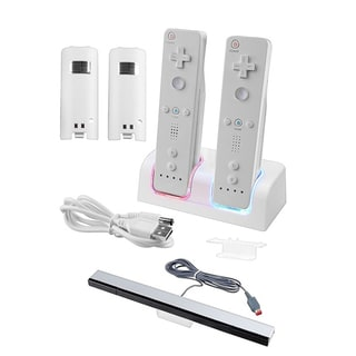 BasAcc Wired Sensor Bar/ Dual Charging Dock for Nintendo Wii Remote