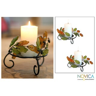 Iron and Recycled Glass 'Ivy Revival' Candleholders (Set of 2) (Ghana)