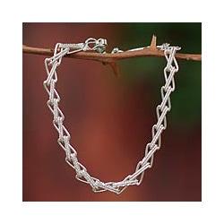Silver 'Zigzag Lace' Link Bracelet (Peru)
