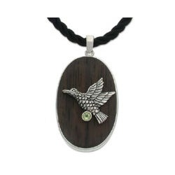 Sterling Silver 'In Peace' Sono Wood and Peridot Necklace (Indonesia)