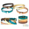 Handcrafted Leather 'Cool Serpentines' Bracelets (Set of 4) (Indonesia)