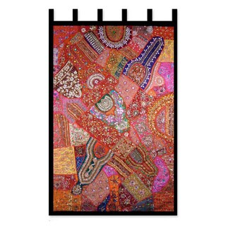Autumn Splendor Patchwork Applique with Sequins Mirrors Beads on Multicolor Orange Decorator Accent Wall Art Hanging (India)
