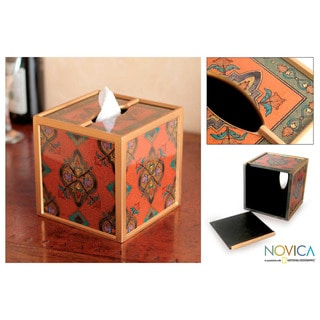 Painted Glass Handcrafted 'In Crimson' Tissue Box (Peru)