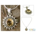 Sterling Silver 'Star of Kolkata' Citrine Necklace (India)