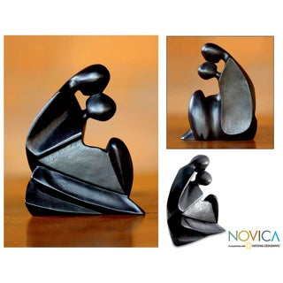 Handcrafted Suar Wood 'First Kiss' Sculpture (Indonesia)
