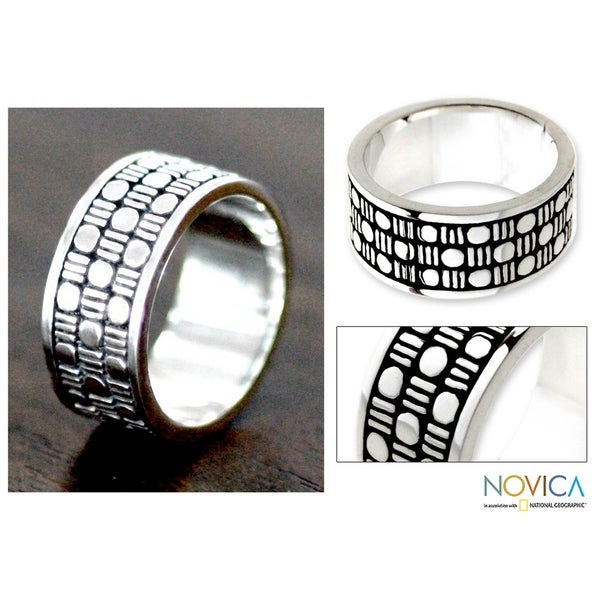 Sterling Silver Men's 'Binary Code' Ring (Indonesia)