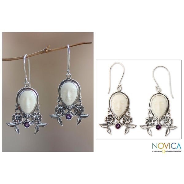 Sterling Silver 'Mother Earth Sleeps' Amethyst Earrings (Indonesia)