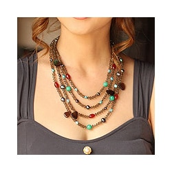 Multi-gemstone 'Be Whimsical' Pearl Necklace (6-10 mm) (Thailand)