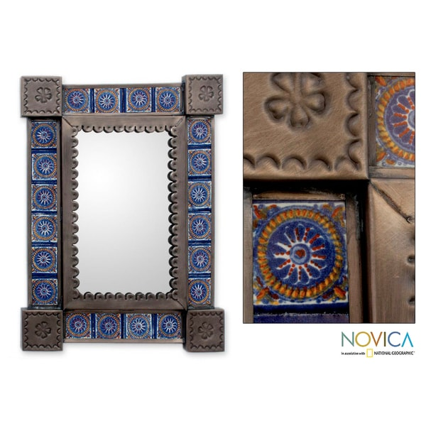 Handcrafted Tin and Ceramic 'Colonial Blue'Small Wall Mirror (Mexico)
