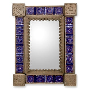 Handcrafted Tin and Ceramic 'Colonial Blue' Wall Mirror (Mexico)