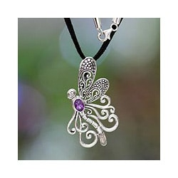 Sterling Silver 'Island Butterfly' Amethyst Necklace (Indonesia)