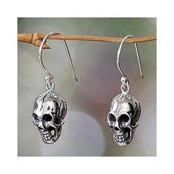Sterling Silver 'Immortal Skull' Earrings (Indonesia)