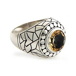 Sterling Silver Men's 'Denpasar Hero' Citrine Ring (Indonesia)