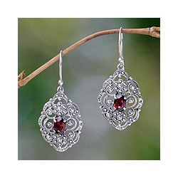 Sterling Silver 'Kuta Princess' Garnet Earrings (Indonesia)