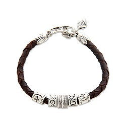 Sterling Silver 'Angel of Nature' Leather Bracelet (Indonesia)