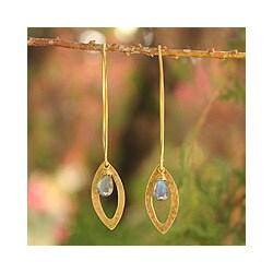Gold Overlay 'Petal' Labradorite Earrings (Thailand)