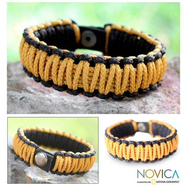 Polyester Men's 'Amina In Golden Black' Wristband Bracelet (Ghana)
