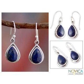 Sterling Silver 'Blue Teardrop' Lapis Lazuli Earrings (India)