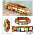 Handcrafted Wood 'Mumbai Mosaic' Bone Bracelet (India)