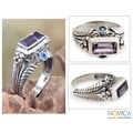 Sterling Silver 'Sea Temple' Amethyst and Blue Topaz Ring (Indonesia)